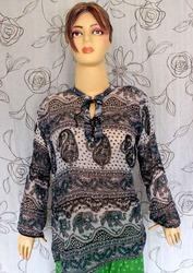 Printed Peasant Top Gypsy Boho Cotton Casual Blouse Tunic