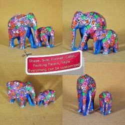 Hand Painted Blue Floral Decorated Elephants Made of Wood