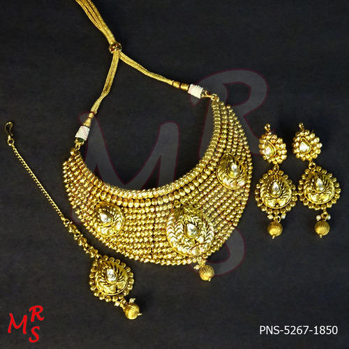 ffc20856e01f3f Broad Gold Plated Designer Choker Necklace Set at Rs 1850 /set ...