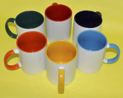 Colour Inside with Handle Ceramic Mugs, Size: 11OZ