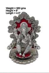 White Metal Silver Plated Oxidized Ganesha on Singhasan