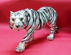 Silver Plated Tiger Statue