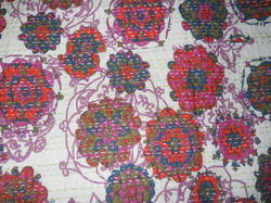 Multi Color Hand Stitched Printed Kantha Quilt