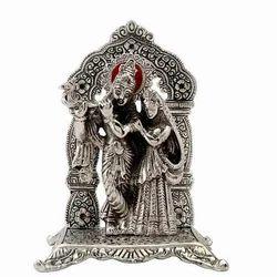 Bharat Handicrafts Silver White Metal Radha Krishna Statue Id