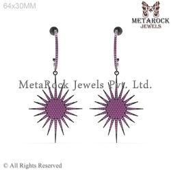 Micro Pave Setting Gemstone Earring
