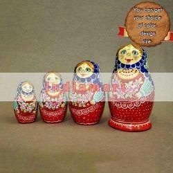 Hand Painted Paper Mache Nesting Dolls - Set of 4 Dolls