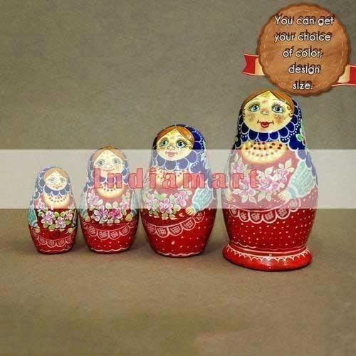 Hand Painted Paper Mache Nesting Dolls - Set of 4 Dolls