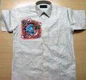 Mural Painted Khadi Silk Half Sleeve Shirt