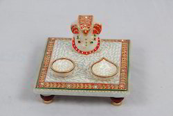 Marble 6x6 Chowki with 2 Deepak
