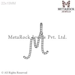 M Design Sterling Silver Initial Charm Pendant Jewelry