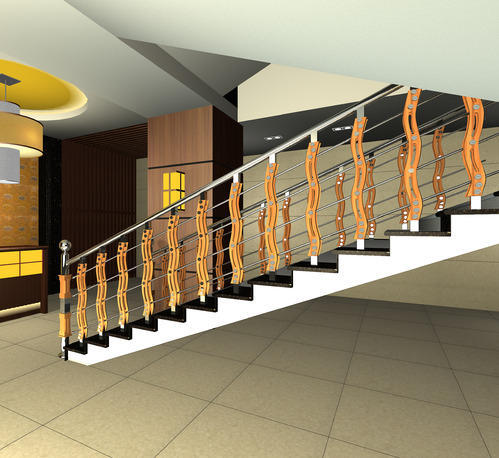 Attractive Stainless Steel Staircase With Teak Wood S 7 U0026 Charupadi Wholesaler From  Kozhikode