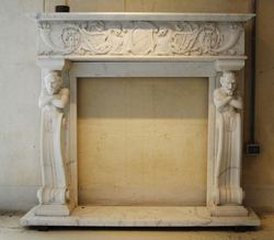 Marble Stone Fire Place with Sculpture Carved