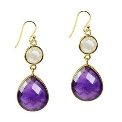 Amethyst And Moonstone Bezel Stet Gemstone Earring