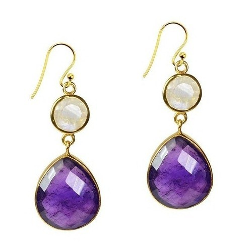 Amethyst And Moonstone Bezel Stet Gemstone Earring, Size: 12x8 Mm, 8mm