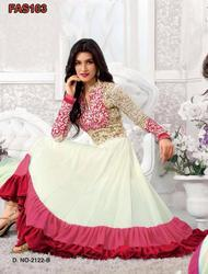 White And Red Long Length Designer Anarkali Suit
