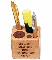 Corporate Wooden Desktop Pen Stand