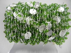 Peridot Quartz Sterling Silver Beaded Silver Disk Chain