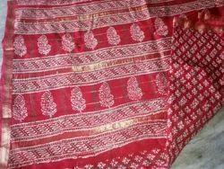 Khosa Silk Bagru Hand Block Print Saree