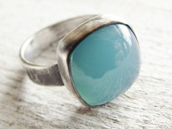 Aqua Chalcedony Cushion Silver Gemstone Ring