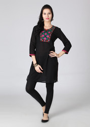 Embroidered Self Design Jacquard Kurta