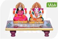 Vaah Marble Laxmi Ganesha Decorative Chowki