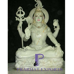 White Marble Gold Plated Shiva Statue