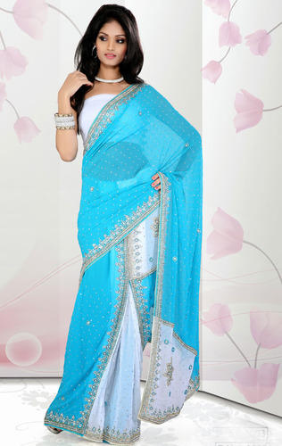 678bff0667158 Bridal Saree - Sky Blue and White Color Faux Chiffon Ready to ...