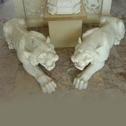 Marble Jumping Lion Statue