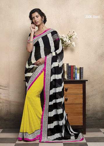 137a5c075f0 Daily Wear Saree - Yellow Faux Chiffon Saree with Blouse 3006 ...
