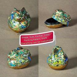 Handmade Hand Painted Golden Rabbit Shape Paper Mache Box
