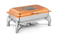 Copper Tone Rectangular Hydralid Glass Lid Chafer