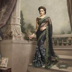 Net with Heavy Embroidery Party Wear Sarees