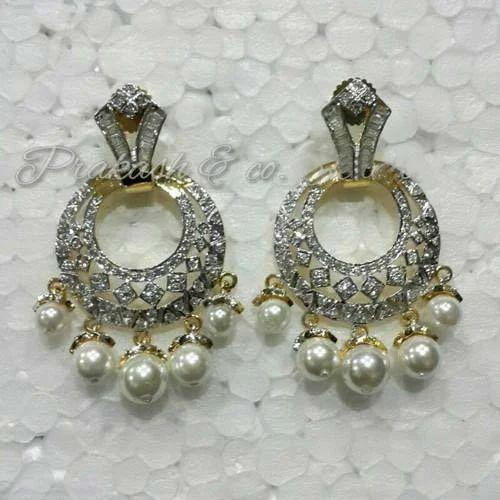 0d1365f22fe Prakash White American Diamond Earring With Stone