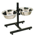 Adjustable Double Diner with 2 Stainless Steel Bowls