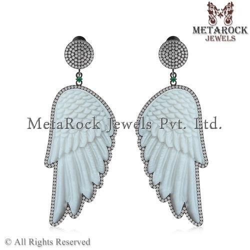 Bone Carving Pave Diamond Earring Birds Feather Rs 30000 Pair Id 5645127173