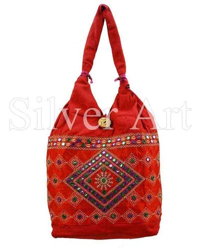 d17dafd062 Mirror Work Rajasthani Traditional Embroidery Bag - Silver Art ...