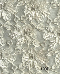 Hand Beaded Embroidered Lace Fabric