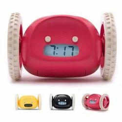 Black, Pink & White PACKNBUY Clocky Running Alarm Clock