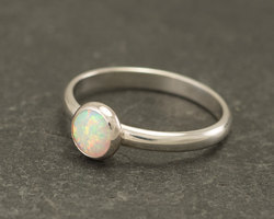 Opal Gemstone Silver Ring