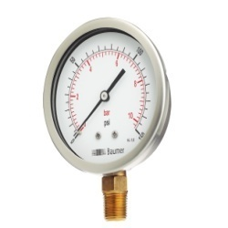 Baumer SS Case Brass Pressure Gauge Bourdon Type