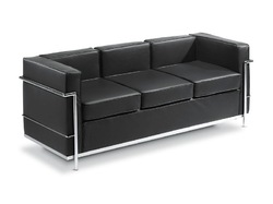 Black 3 Seater Waiting Sofa