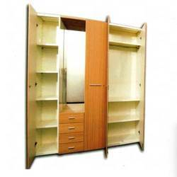 Steel Wardrobe with High Gloss Wooden Shutter