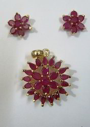 Ruby Stone Pendant Set