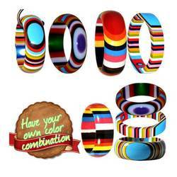 Multi Layered Multi Color - Resin Bangle Bracelets Cuffs