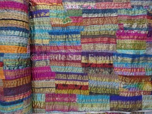 Brocade Sari Border Patchwork Kantha Quilt at Rs 2400 /piece ... : indian sari quilts - Adamdwight.com