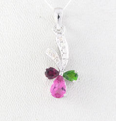 Tourmaline And Diamond 18K White Gold Pendent
