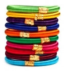 Multicolor Silk Thread Handmade Multicolour Fancy Bangle, Round