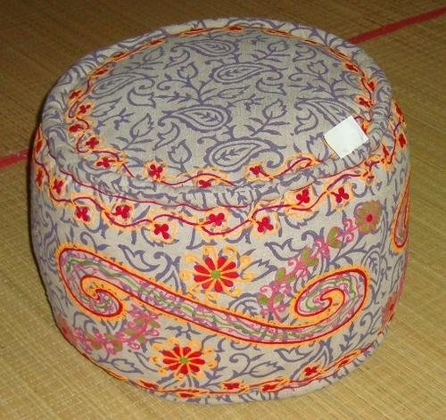 Cotton Round Embroidered Pouf