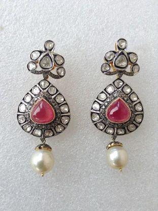 9810fb854c09b Diamond Polki Earring with Ruby & Pearl - Molto Bello Gems, Jaipur ...
