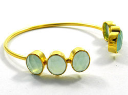 Aqua Chalcedony Adjustable Bracelet